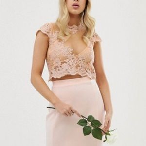 Club L bridesmaid embroidery detail crop top
